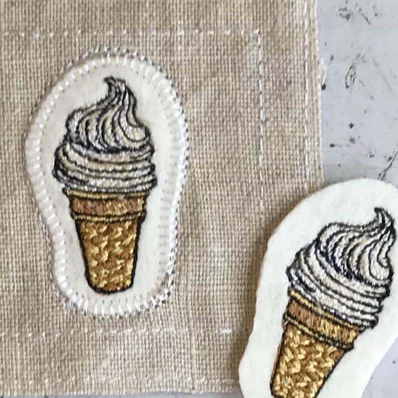 ソフトクリーム刺繍麻とステッカー