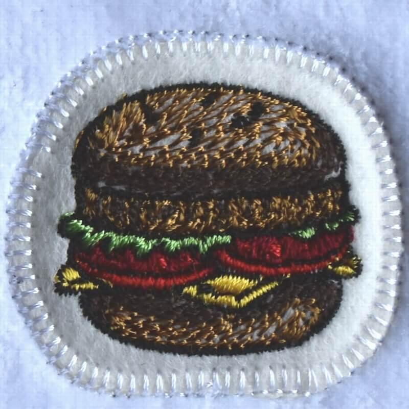 チーズハンバーガー刺繍タオル
