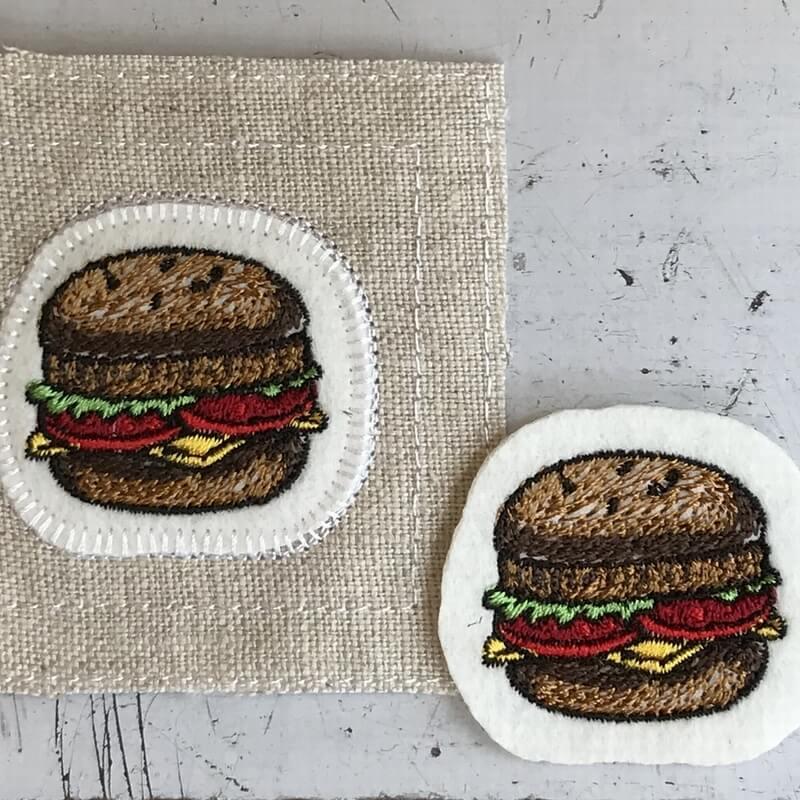 チーズハンバーガー刺繍ステッチイメージ