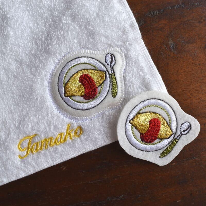 オムレツ刺繍タオルsampleソーダ付き
