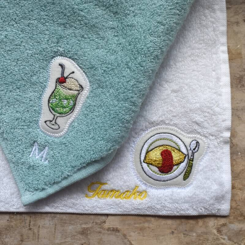 オムレツ刺繍タオルsample