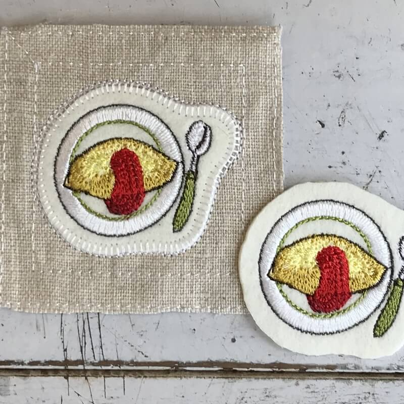 オムレツ刺繍ステッチイメージ
