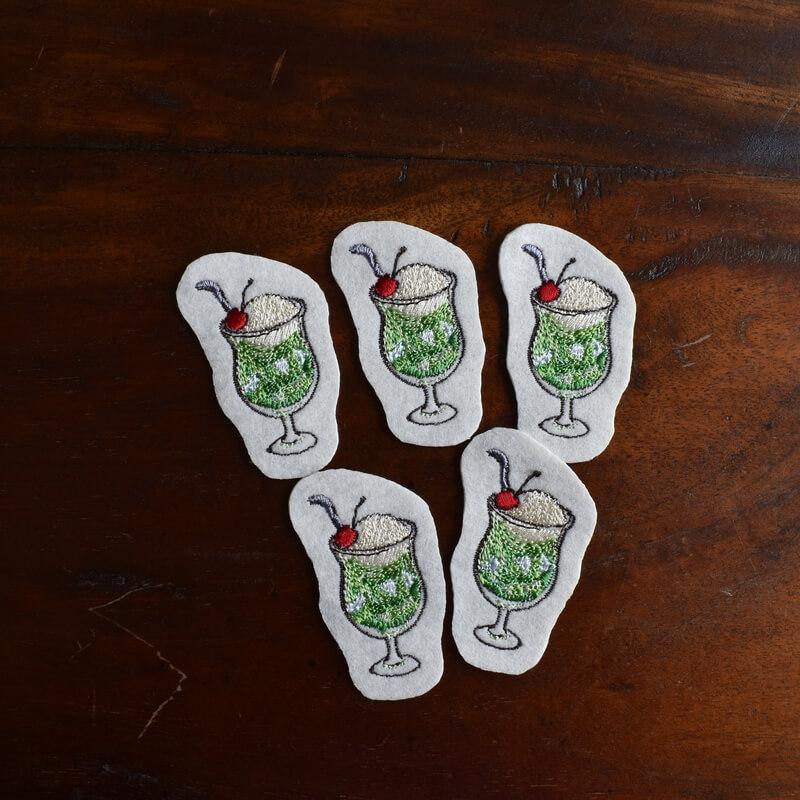 クリームソーダ刺繍5個