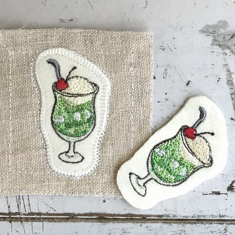 クリームソーダ刺繍ステッカーイメージ