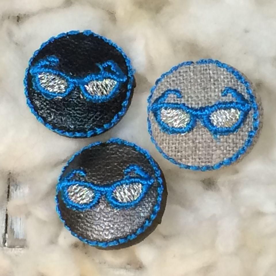 サングラス[青]刺繍ボタン3種