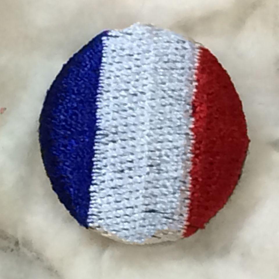 フランス国旗刺繡ボタンアップ