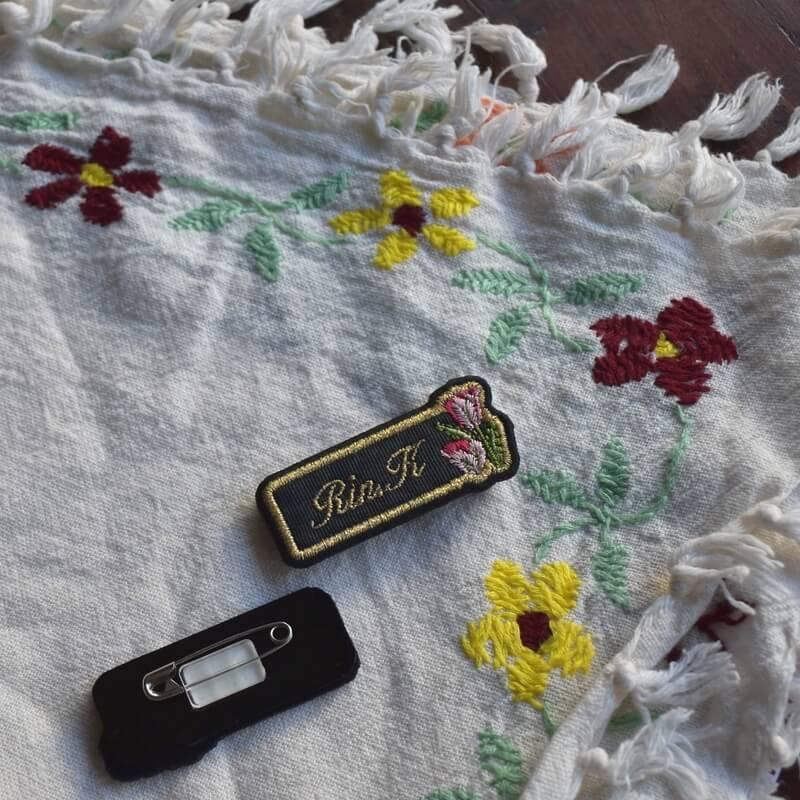 ミニマムネームプレート/花お花の生地