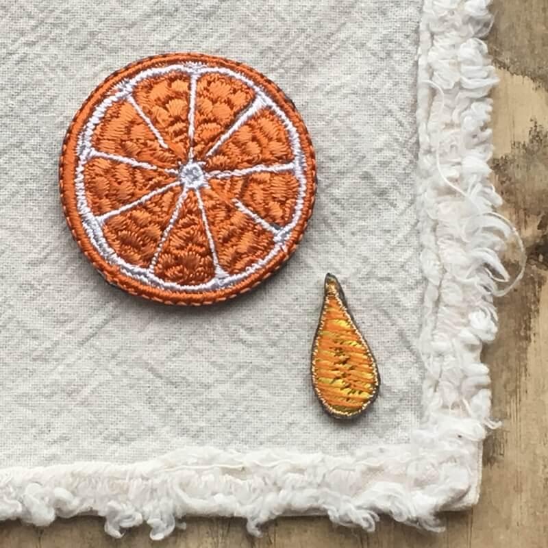 刺繍ワッペン/オレンジL