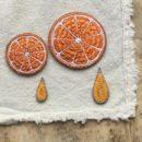 オレンジ(M)(L)刺繍のステッカーワッペン