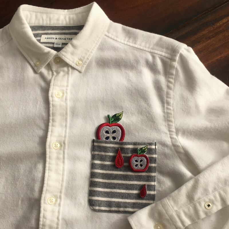 刺繍ワッペン/リンゴシャツ