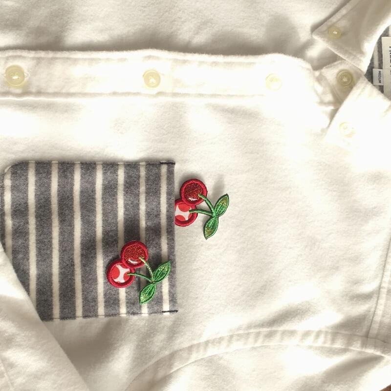 刺繍ワッペン/チェリーシャツアップ
