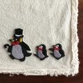 ペンギン刺繍行進[シルクハット]ワッペン3組セット1