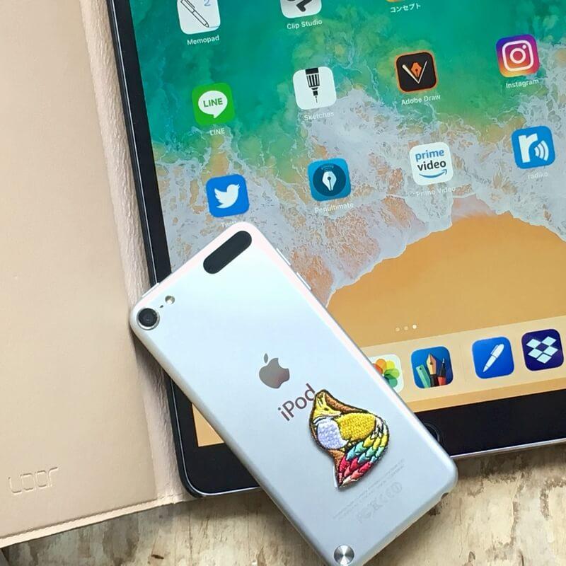 虹色キツネ刺繍iPad