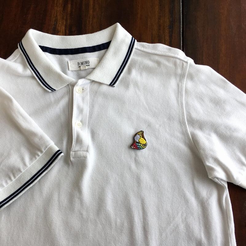 虹色キツネ刺繍ポロシャツ白