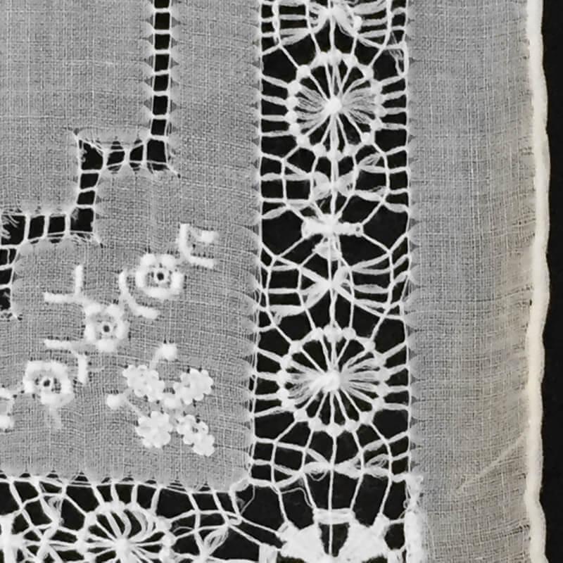 Buranoハンドワーク刺繍ハンカチーフサイド