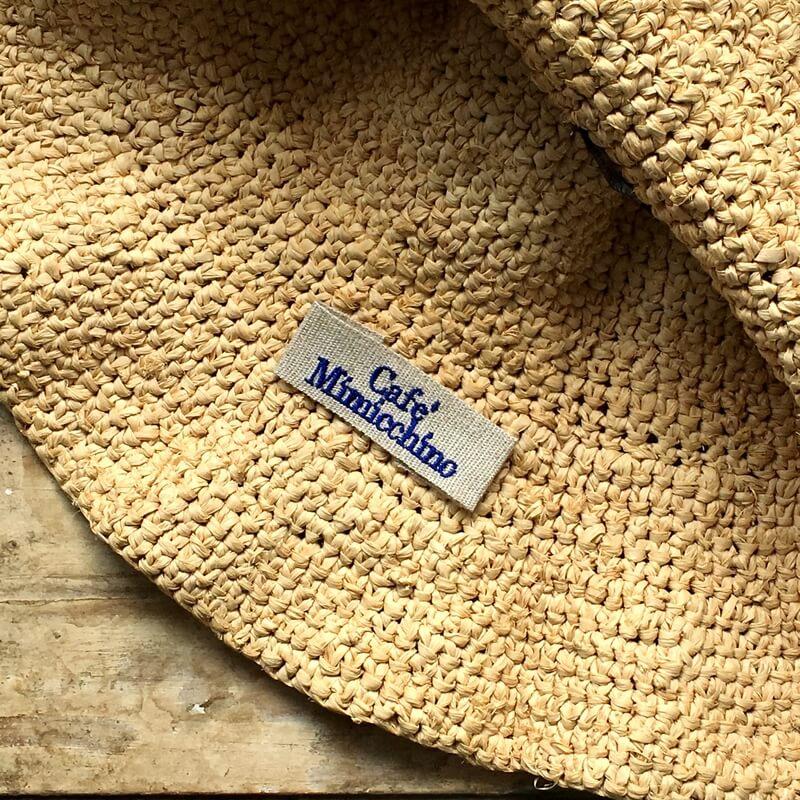 リボン:刺繍ネームタグabc帽子