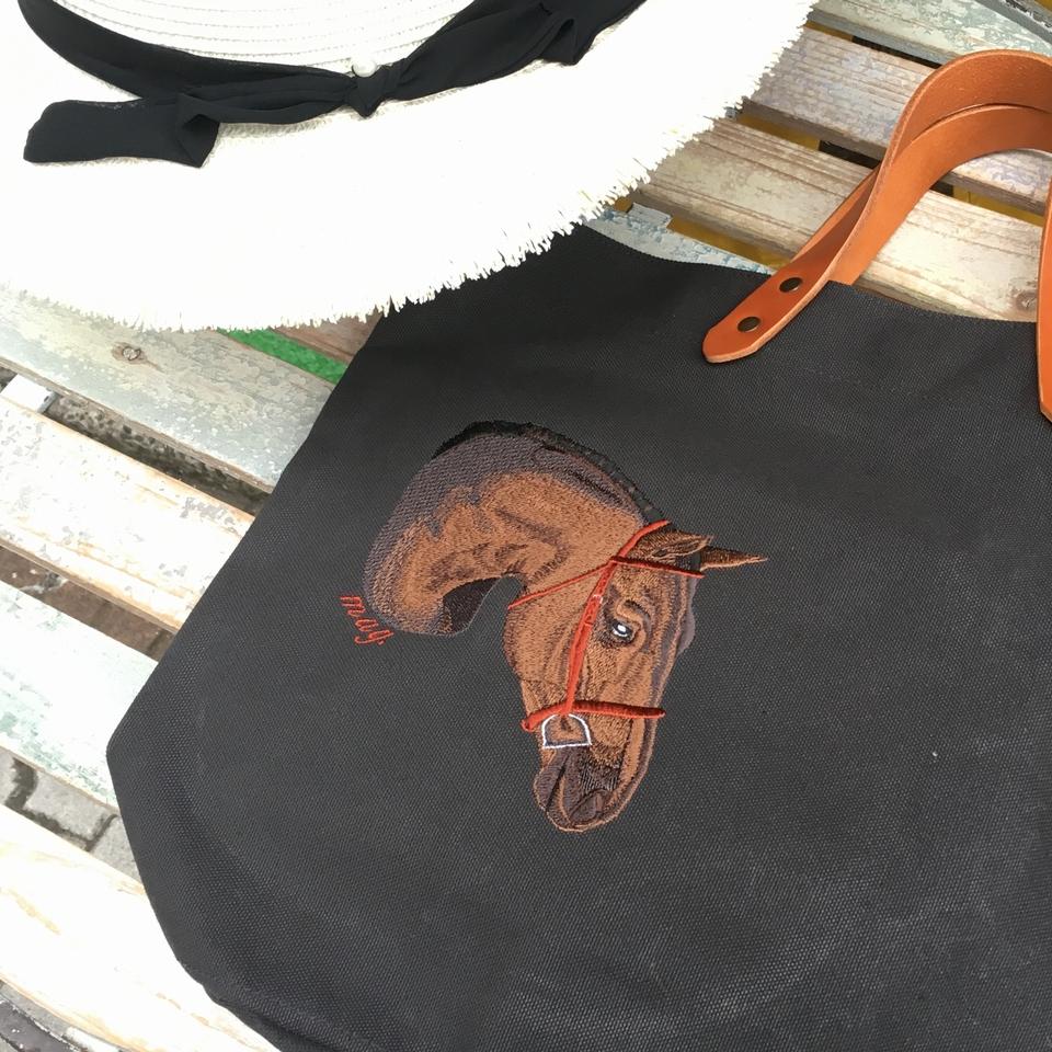 馬刺繍:バック刺繍製作6