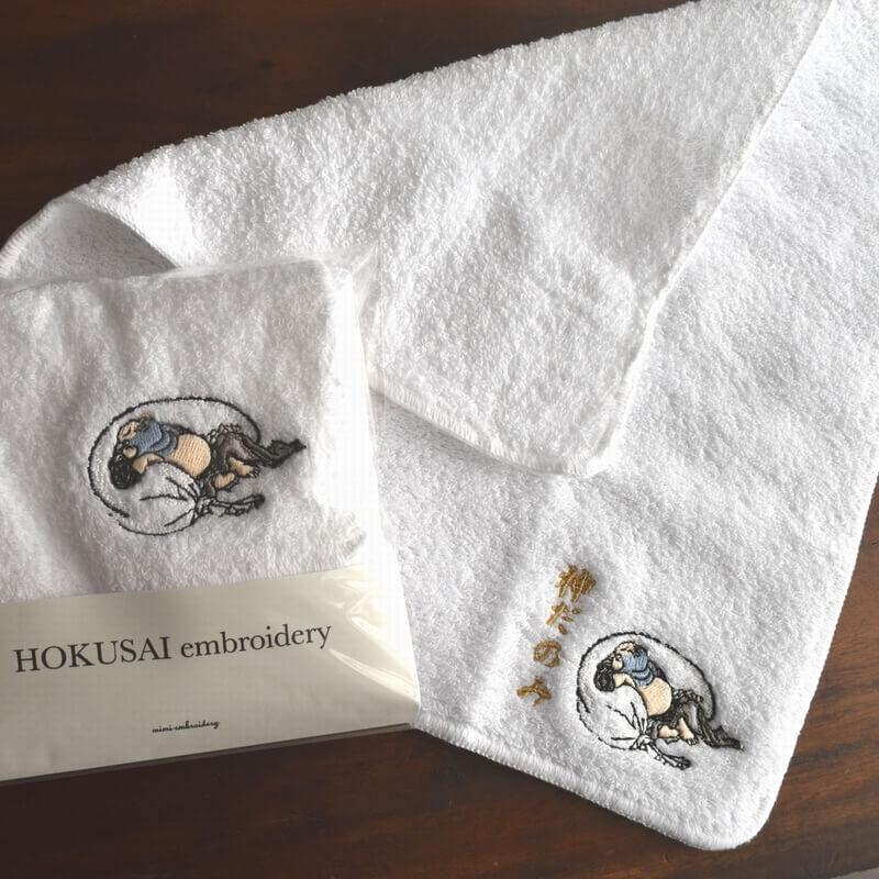 北斎漫画[浮世絵刺繍]布袋さまのタオルタイトル