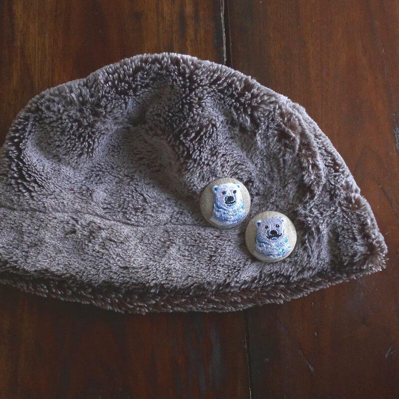 白くまパパママ刺繍くるみ38帽子