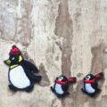 刺繍ワッペン/ペンギンニット帽行進3Pイメージ