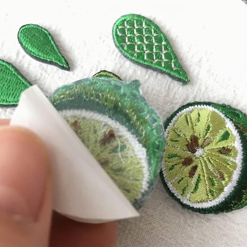 刺繍ワッペン/ライム背面加工