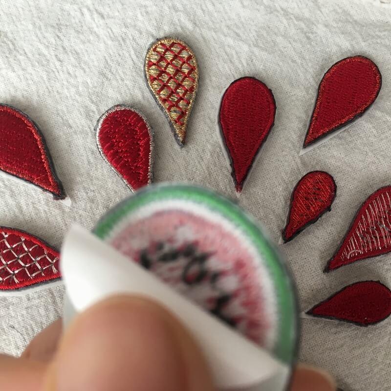 刺繍ワッペン/スイカ背面加工
