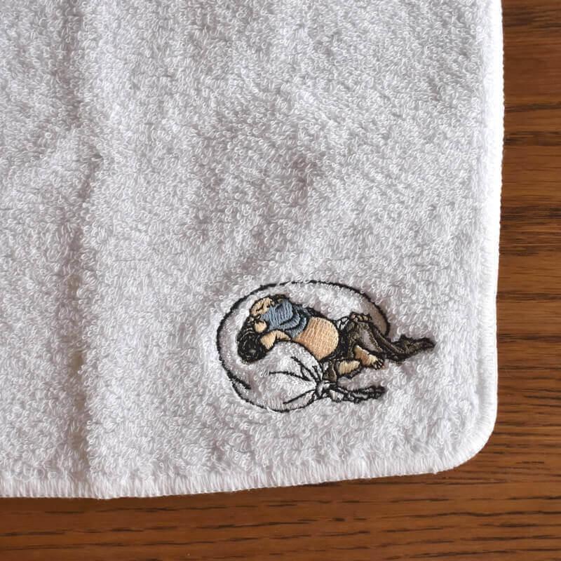 北斎漫画[浮世絵刺繍]布袋さまのタオル文字なしサイド