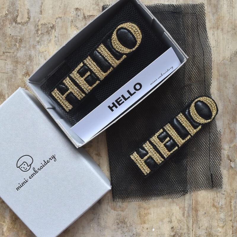 こんにちは[HELLO]刺繍クリップ