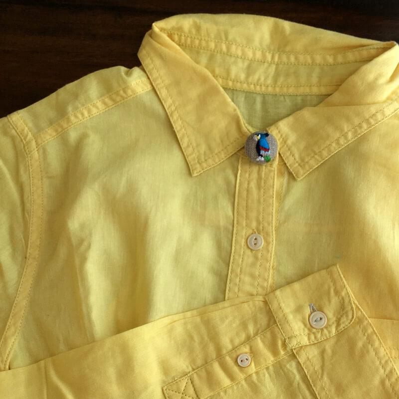 オウム22刺繍ボタンシャツ