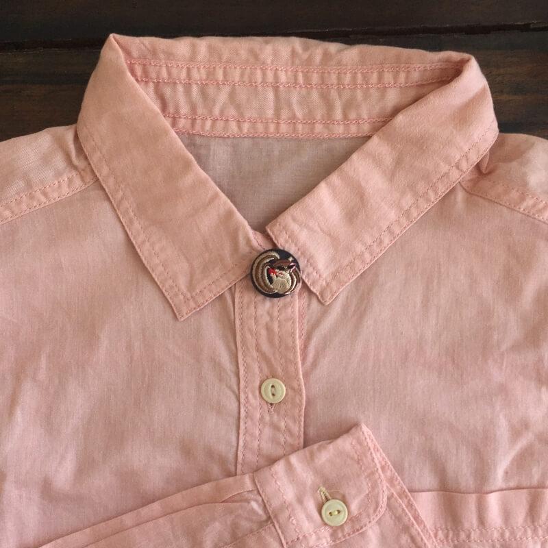 リス22刺繍ボタンシャツPK