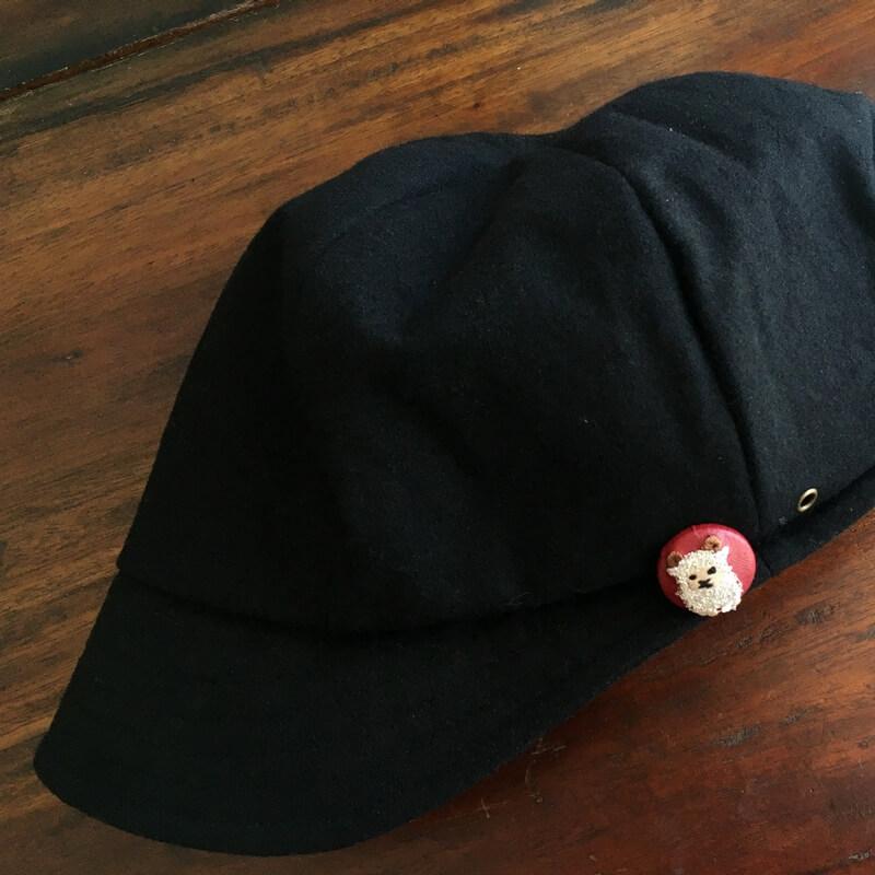 ヒツジ22刺繍ボタン帽子