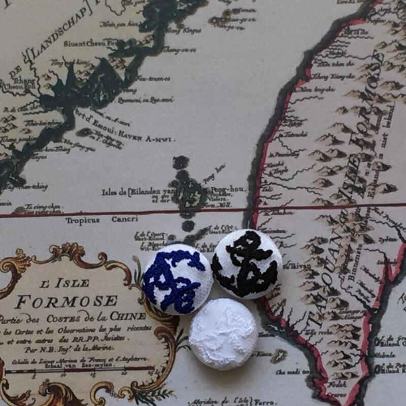 アンカー碇22刺繍ボタン地図