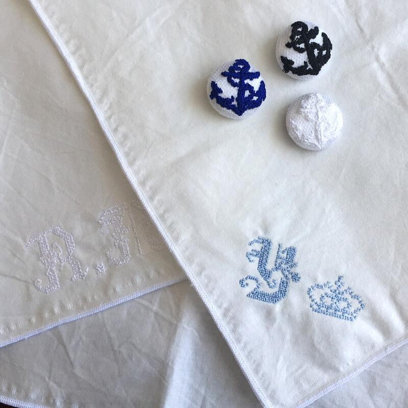 アンカー碇22刺繍ボタンハンカチイメージ