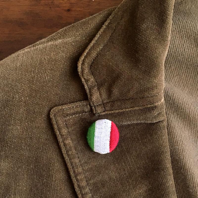 国旗22刺繍ボタンジャケットブラウン