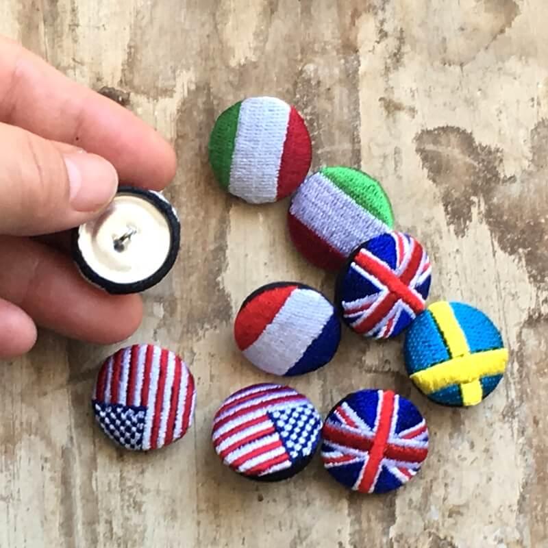 国旗22刺繍ボタンハンド